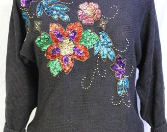 Vtg. 1980's Victoria Jones Black Knit Sweater with Sequin Floral Pattern/Size Medium/1980's/Bling/party/multi-color/campy/event/rocker/POP