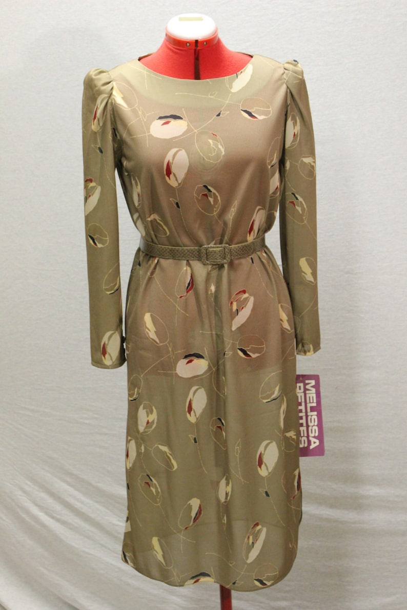 Vintage 1970/'s NOS Long Sleeved Dress Size M W-BeltCalf LengthAbstract Floral PrintTags still onPolyesterSpringCareerEventWorkFall