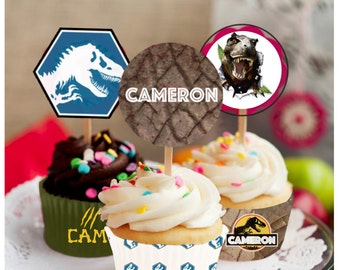 Jurassic Park Cupcake wrappers and toppers, Jurassic World Birthday, Dinosaur party, cupcake wrapper, cupcake toppers, Jurassic World
