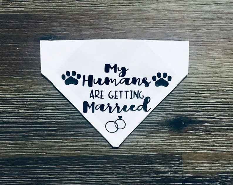 Over The Collar Bandana Wedding Dog Bandana Engagement Dog Bandana My Humans Are Getting Married Dog Bandana Custom Dog Bandana