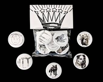 5-Pack Public AE Originals Pack - Artwork Illustration Badge Pin-back Button or Magnet