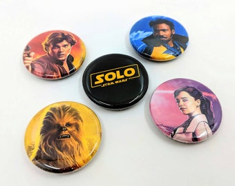 """5 Pack 1.25"""" Solo: A Star Wars Story Pin-back Buttons or Magnets - Solo Logo, Han, Chewie, Lando and Qi'ra"""