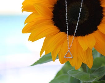 """BALANCE- Sterling Silver Triangle Necklace -18"""""""