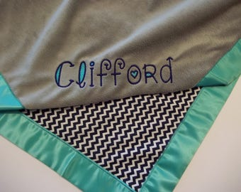 Personalized Navy Blue/White Chevron with Gray Minky Blanket