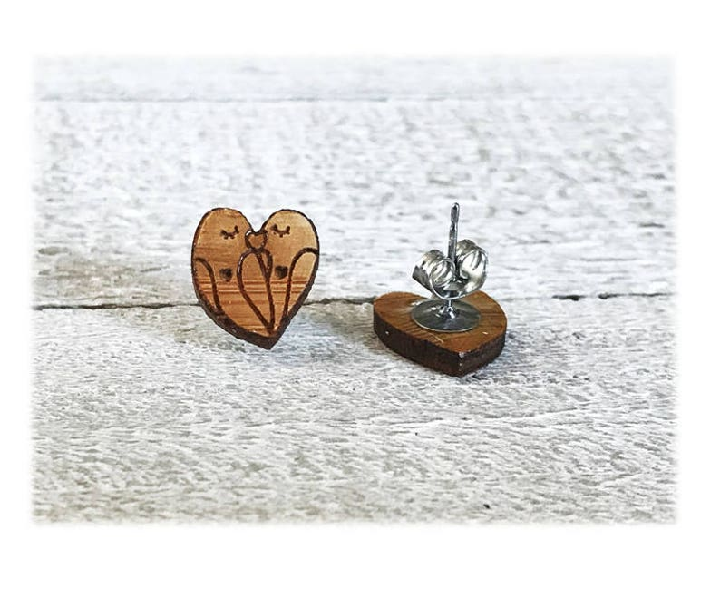 Small earrings Inseparable wooden birds engraved with laser stainless steel nails  woman girl gift girl party
