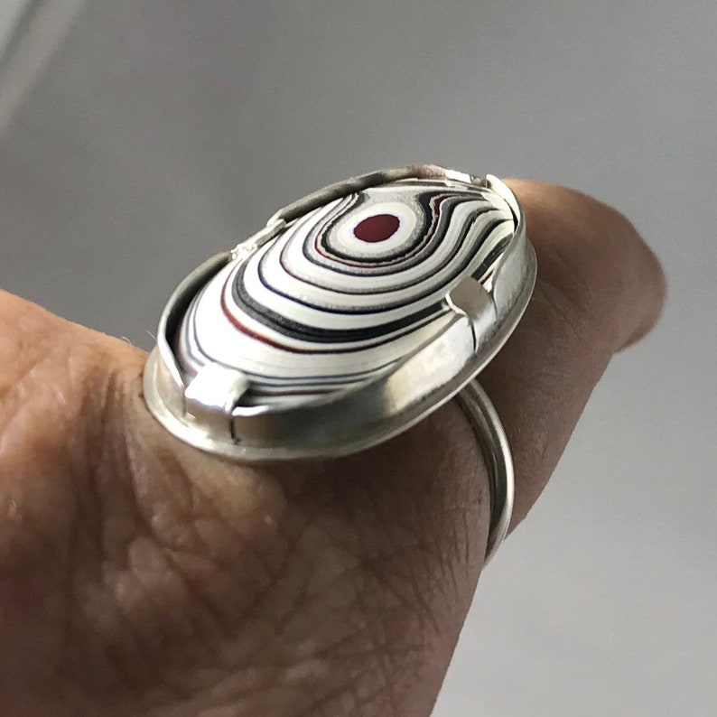 Silver Fordite Statement Ring Size 10