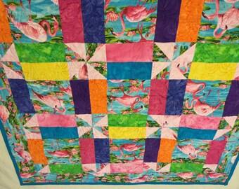 Dancing Flamingo quilt ready to ship