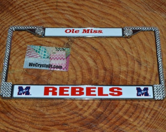 Ole Miss Rebels License Crystal Sport Frame Sparkle Auto Bling Rhinestone Plate Frame with Swarovski Elements Made by WeCrystalit