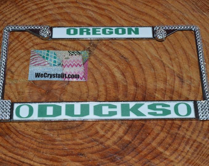 Oregon Ducks  License Crystal Sport Frame Sparkle Auto Bling Rhinestone Plate Frame with Swarovski Elements Made by WeCrystalit