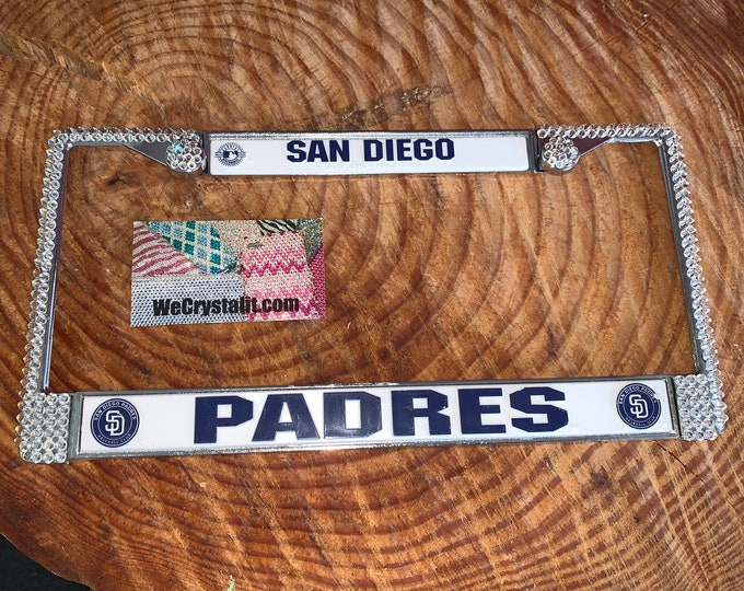 San Diego Padres License Crystal Baseball Sport Frame Sparkle Auto Bling Rhinestone Plate Frame with Swarovski Elements Made by WeCrystalit