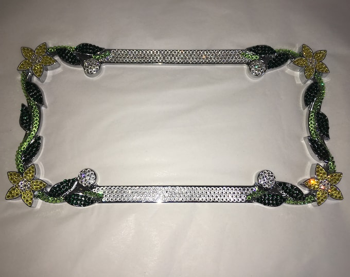 Yellow Daisy Flower hibiscus Flower Crystal Sparkle Auto Bling Rhinestone  License Plate Frame with Swarovski Elements Made by WeCrystalIt