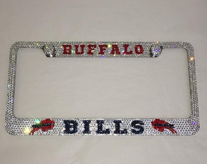 Buffalo Bills Sparkle Auto Bling Rhinestone  License Plate Frame with Swarovski Elements Made by WeCrystalIt
