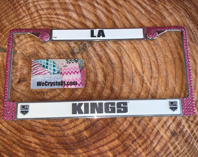 LA Kings License pink Crystal Sport Silver Frame Sparkle Auto Bling Rhinestone Plate Frame with Swarovski Elements Made by WeCrystalit