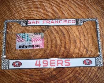 49ers 49 ers San Francisco License Crystal Sport Frame Sparkle Auto Bling Rhinestone Plate Frame with Swarovski Crystals Made by WeCrystalt