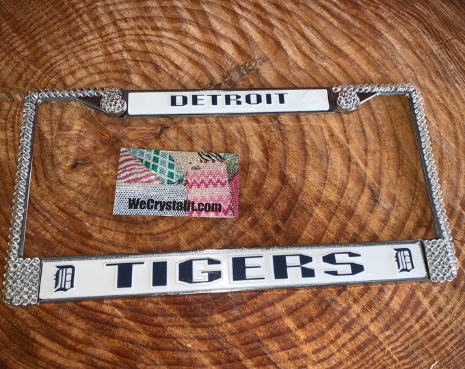 Detroit Tigers License Crystal Sport on Silver Frame Sparkle Auto Bling Rhinestone Plate Frame with Swarovski Element made by WeCrystalIt