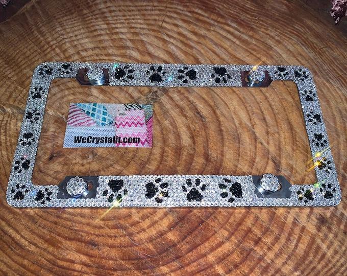( 1  ) Dog Puppy Paws Swarovski  Crystal Sparkle Auto Bling Rhinestone License Plate Frame with Swarovski Elements Made by WeCrystalIt