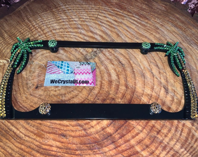 Color Palm Tree Sides Only one 1 classic Crystal Sparkle Auto Bling Rhinestone License Plate Frame Made by WeCrystalIt