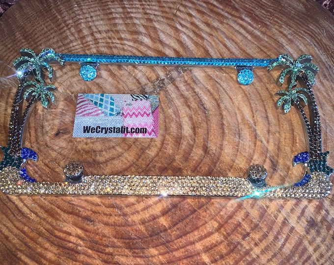 Classic Color Palm Tree Crystal Sparkle Auto Bling Rhinestone  License Plate Frame with Swarovski Elements Made by WeCrystalIt