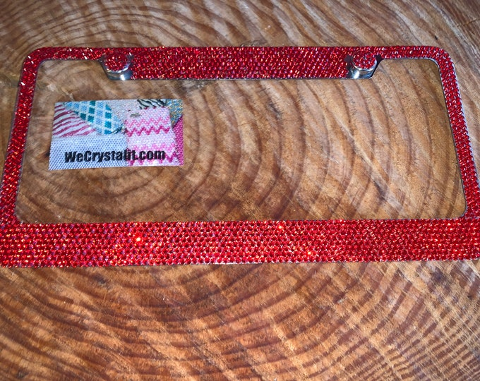 Red Light Siam 8 Row Swarovski Crystal Sparkle Auto Bling Rhinestone License Plate Frame Made with Swarovski Elements Made by WeCrystalIt