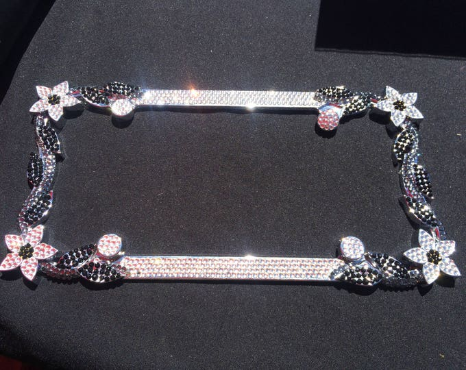 Clear Daisy Flower Crystal Sparkle Auto Bling Rhinestone  License Plate Frame with Swarovski Elements Made by WeCrystalIt