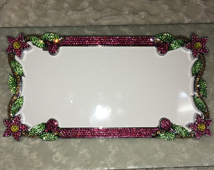 Rose Pink Flower Crystal Sparkle Auto Bling Rhinestone License Plate Frame with Swarovski Elements Made by WeCrystalIt