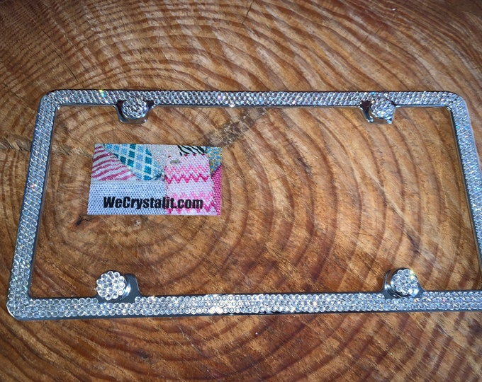 Clear Diamond on silver Frame 3 Row Crystal Sparkle Auto Bling Rhinestone  License Plate Frame with Swarovski Elements Made by WeCrystalIt