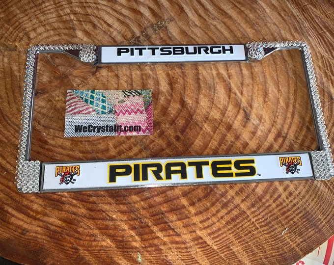 Pirates Pittsburgh Sport on Silver Frame Crystal Sparkle Auto Bling Rhinestone License Plate Frame with Swarovski Element by WeCrystalIt