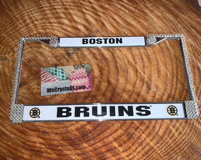 Boston Bruins License Clear Hockey Sport Silver Frame Sparkle Auto Bling Rhinestone Plate Frame with Swarovski Elements Made by WeCrysta