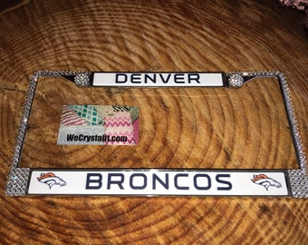 Denver Broncos Football License Clear Crystal Sport Silver Frame Sparkle Auto Bling Rhinestone Plate Frame with Swarovski Elements Made by W