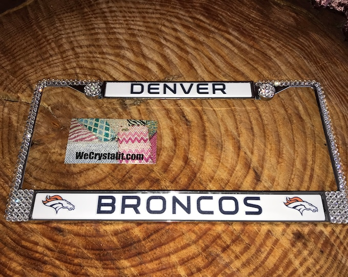 Denver Broncos Football License Clear Crystal Sport Silver Frame Sparkle Auto Bling Rhinestone Plate Frame with Swarovski Elements Made by W