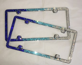 Blue Ombre Fade set of 2 Frame 3 Row Crystal Sparkle Auto Bling Rhinestone  License Plate Frame with Swarovski Elements Made by WeCrystalIt