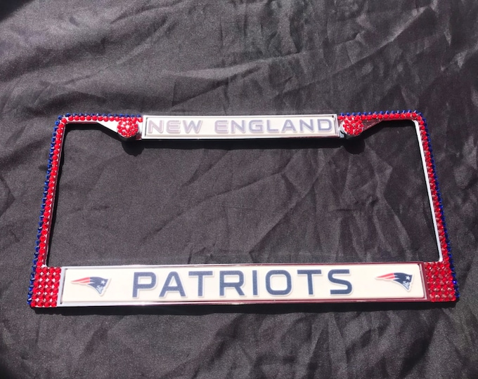 New England Patriots License Crystal Sport Silver Frame Sparkle Auto Bling Rhinestone Plate Frame with Swarovski Elements Made by WeCrystali