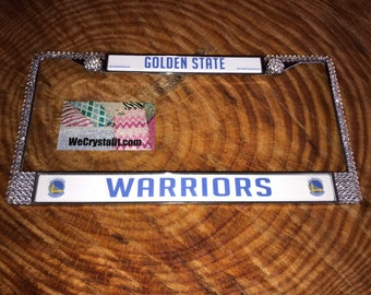 Golden State License Crystal Warriors Sport on Silver Frame Sparkle Auto Bling Rhinestone Plate Frame with Swarovski Element by WeCrystalIt