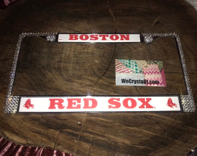 RED SOX License clear Crystal Boston Baseball Frame Sparkle Auto Bling Rhinestone Plate Frame with Swarovski Elements Made by WeCrystalIt
