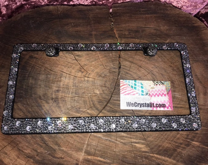 Gray Bumpie Diamond on Black Frame Crystal Sparkle Auto Bling Rhinestone  License Plate Frame with Swarovski Elements Made by WeCrystalIt
