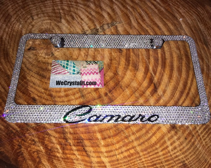 Camaro Crystal Sparkle Auto Bling Rhinestone  License Plate Frame with Swarovski Elements Made by WeCrystalIt