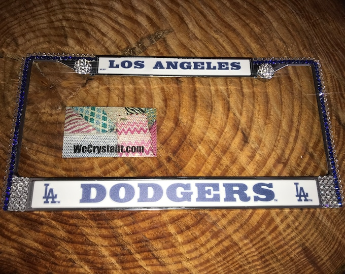 Los Angeles Dodgers License Crystal Sport Silver Frame Sparkle Auto Bling Rhinestone Plate Frame with Swarovski Elements Made by WeCrystalit