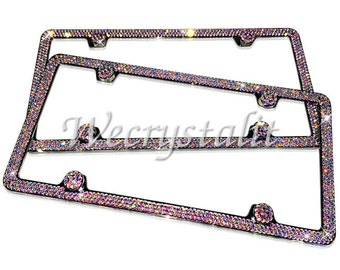 Set 2 AB Effect on Silver Frame 3 Row Crystal Sparkle Auto Bling Rhinestone License Plate Frame with Swarovski Elements Made by WeCrystalIt