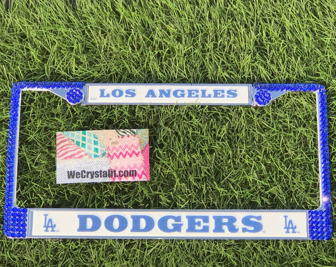 Los Angeles Dodgers License Blue Crystal Sport baseball Frame Sparkle Auto Bling Rhinestone Plate Frame with Swarovski Elements Made WeCrys