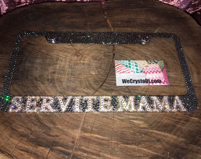 Servite MaMa Crystal Sparkle Auto Bling Rhinestone  License Plate Frame with Swarovski Elements Made by WeCrystalIt