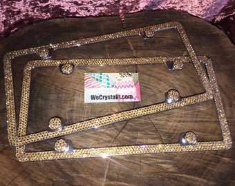 Set 2 Gold on Silver Frame 3 Row Crystal Sparkle Auto Bling Rhinestone License Plate Frame with Swarovski Elements Made by WeCrystalIt