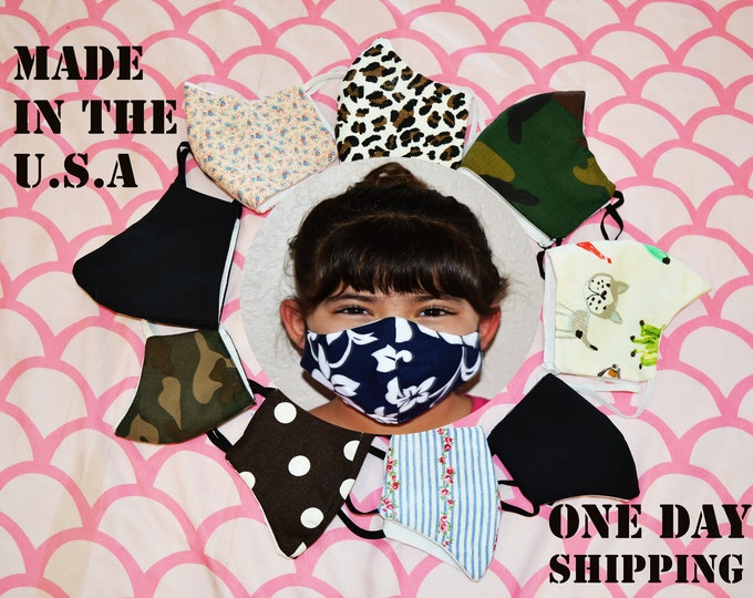 Face Mask Filter Layer 9 Styles Adult & Kids Triple 3 Layer 100% Cotton USA Hand Made Reusable Washable Adults Facemask Super Fast Shipping