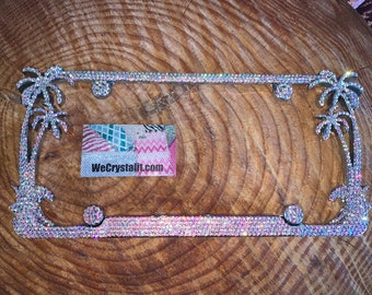 Palm Tree AB Effect Crystal Sparkle Auto Bling Rhinestone  License Plate Frame with Swarovski Elements Made by WeCrystalIt