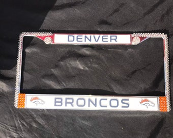 Denver Broncos Football License Crystal Sport Silver Frame Sparkle Auto Bling Rhinestone Plate Frame with Swarovski Elements Made by WeCryst