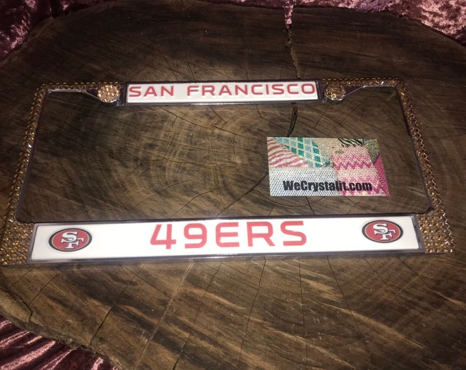 49ers 49 ers San Francisco Sport on Silver Frame Crystal Sparkle Auto Bling Rhinestone License Plate Frame with Swarovski Elements by WeCrys