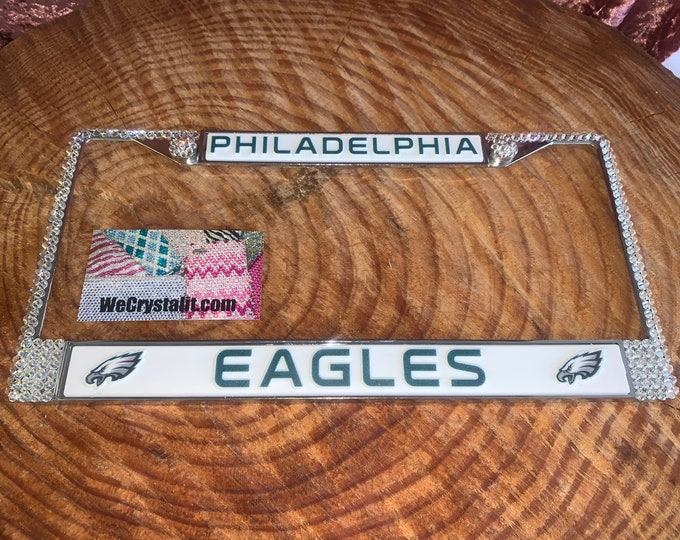 Eagles License Crystal Philadelphia Sport on Silver Frame Sparkle Auto Bling Rhinestone Plate Frame with Swarovski Element by WeCrystalIt