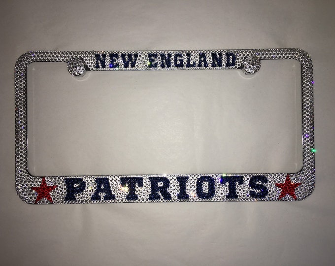 New Englad Patriots Crystal Sparkle Auto Bling Rhinestone  License Plate Frame with Swarovski Elements Made by WeCrystalIt