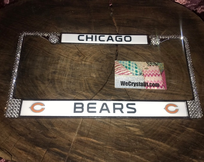 Bears License Crystal Chicago Sport Silver Frame Sparkle Auto Bling Rhinestone Plate Frame with Swarovski Elements Made by WeCrystalIt