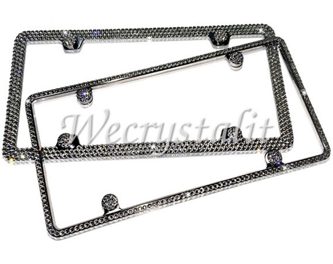 Set 2  Clear on Silver Frame 1 & 3 Row Crystal Sparkle Auto Bling Rhinestone License Plate Frame with Swarovski Elements Made by WeCrystalIt