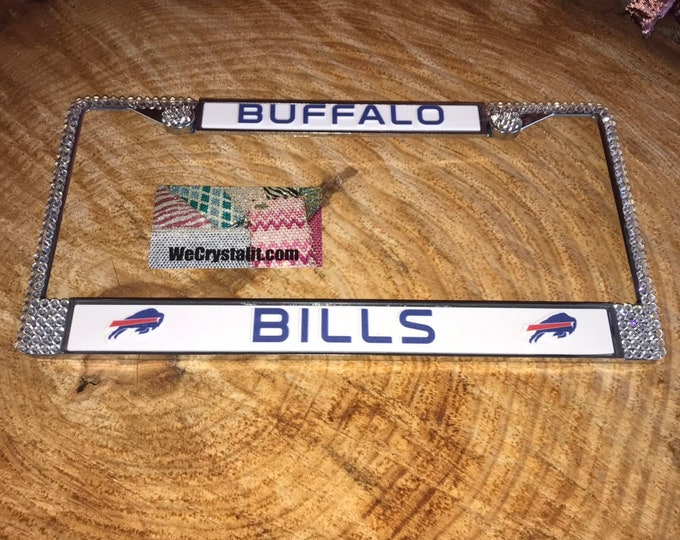 Bills License Crystal Buffalo Sport football Frame Sparkle Auto Bling Rhinestone Plate Frame with Swarovski Elements Made by WeCrystalIt